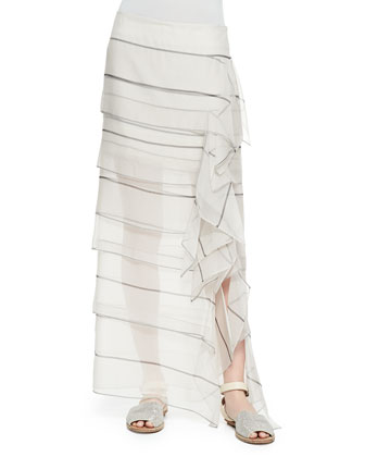 Reverse Paillette Knit Top, Striped Organza Waterfall Maxi Skirt, ...
