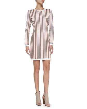 Hatu Long-Sleeve Striped Fitted Dress