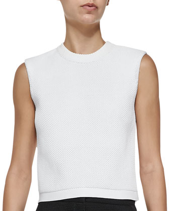 Honeycomb-Pattern Sleeveless Crop Top