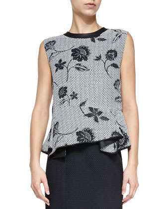 Leather-Trim Asymmetric Jacquard Top
