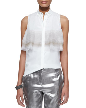 Layered Tulle-Detailed Poplin Blouse, White/Peanut