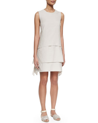 Poplin Trapeze Layer Dress, Fog