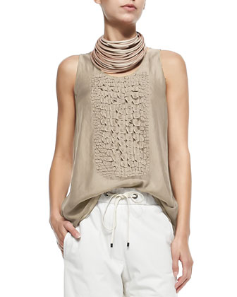 Sleeveless Top W/ Croc Texture