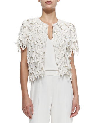 Short-Sleeve Silk Fringe Jacket