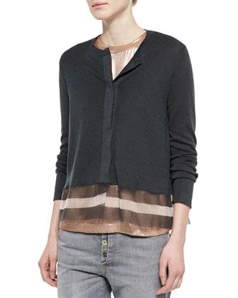 Jersey Striped Gauze-Inset Cardigan, Volcano/Peanut