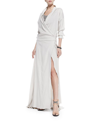 Long-Sleeve Silk Dress W/ High Slit