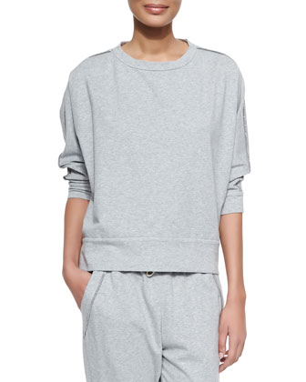 Shimmer-Trimmed French Terry Sweatshirt, Pearl