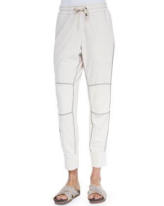 Stripe-Quilted Tech Fabric Vest, Felt Sweatshirt w/ Metallic Trim & Felt ...