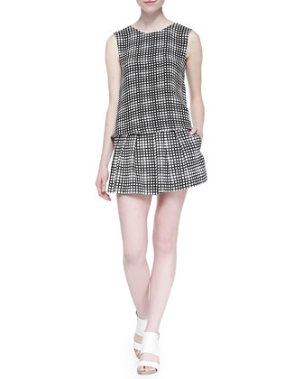 Sleeveless Plaid Crepe Top