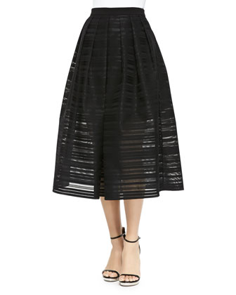 Ribbon Organza Pleated Midi Skirt, Black