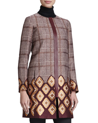 Aristocratic Long Houndstooth Coat