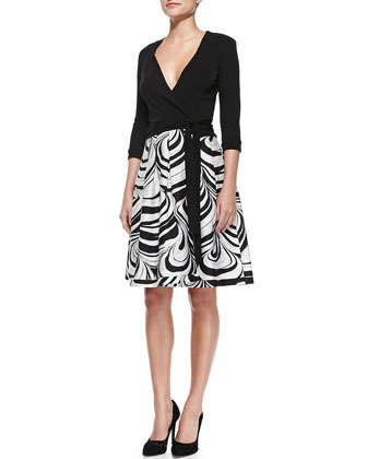 Jewel Faux-Wrap Dress W/ Printed Skirt