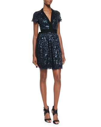 Sabina Sequined Lace Tie-Waist Dress