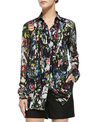 Long-Sleeve Pleat-Front Blouse, Festival Floral