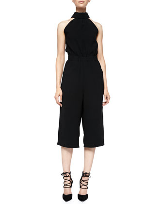 Cut-In-Shoulder Cropped Jumpsuit