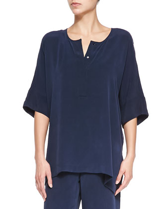 Silk Dolman-Sleeve Tunic, Navy, Petite