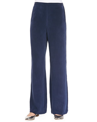 Silk Full-Leg Pants, Navy, Women's