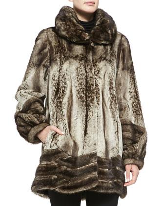 Semi Sheared Mink Fur Stroller Coat