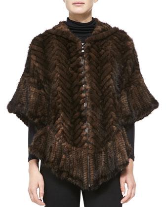 Chevron Mink Fur Poncho, Brown
