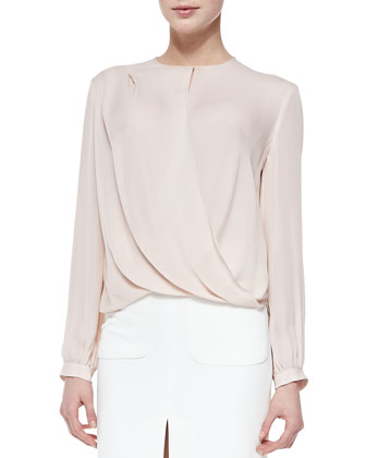 Drape-Front Long-Sleeve Silk Blouse