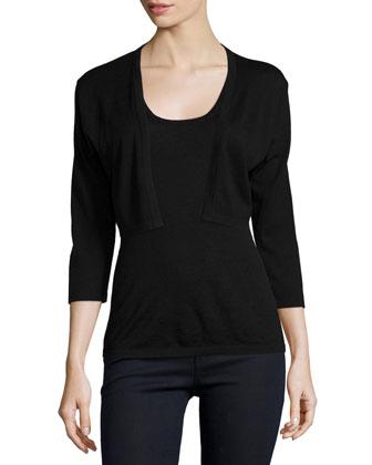 3/4-Sleeve Silk-Cashmere Shrug, Black