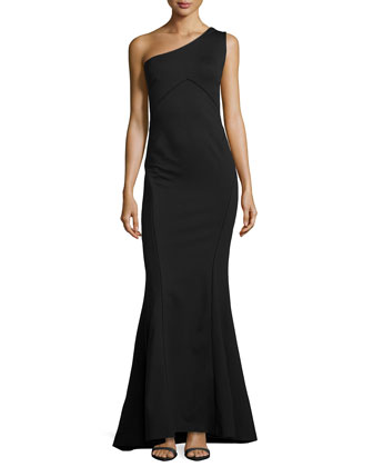 One-Shoulder Mermaid Gown, Black