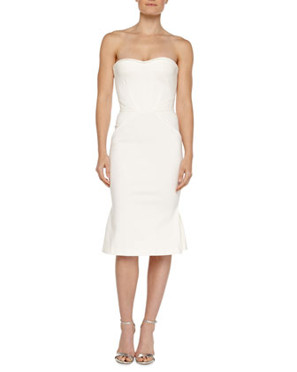 Strapless Bustier Dress, Ivory
