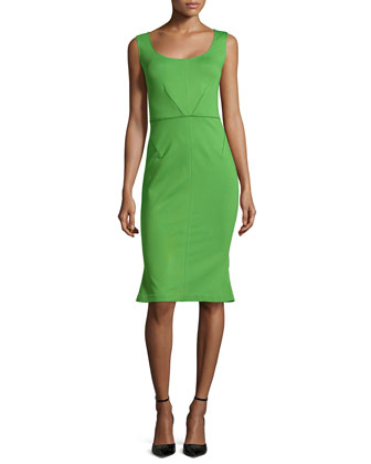 Sleeveless Flounce-Hem Dress, Green
