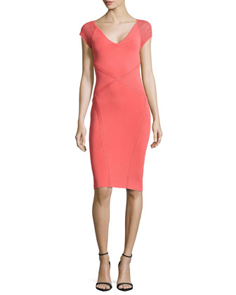 Cross-Seam Sleeveless Sheath Dress, Azalea
