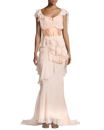 Off-the-Shoulder Ruffle Gown, Peach