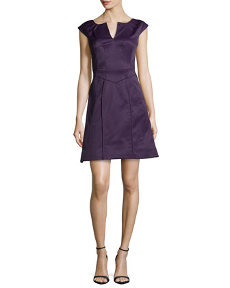 Keyhole-Neck A-Line Dress, Dark Lavender