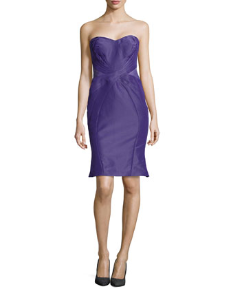 Strapless Cross-Seam Dress, Plum