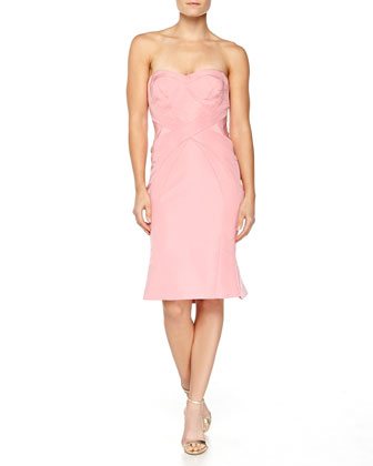 Strapless Cross-Seam Dress, Peony