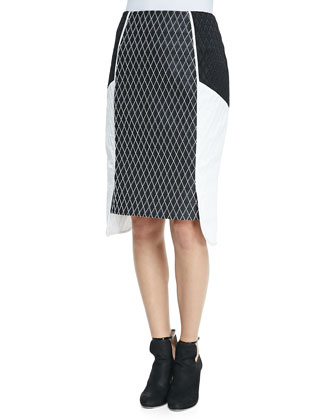 Side-Layered Diamond Pencil Skirt
