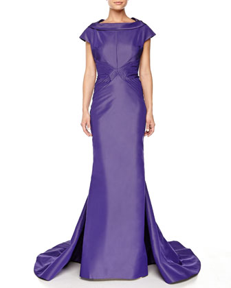 Pleated Fishtail Gown, Plum