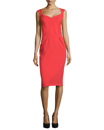 Cap-Sleeve Binding Sheath Dress, Grenadine