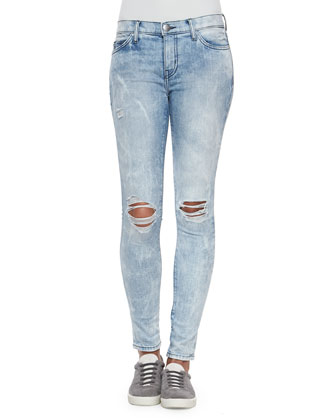 The Ankle Skinny City Bleached Jeans