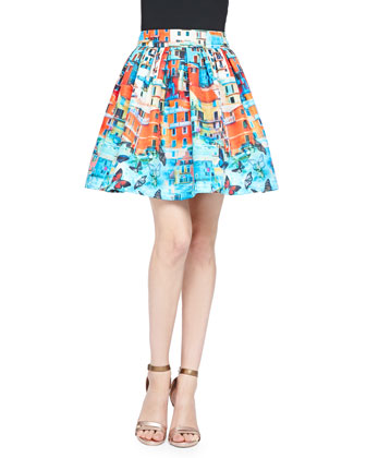 Sotra Printed Pleated Full Skirt