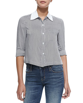 Amy Striped Cropped Poplin Blouse