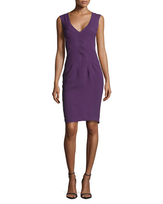 Sleeveless Arched-Hem Dress, Orchid