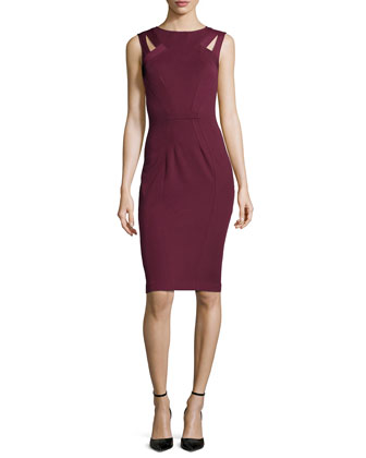 Sleeveless Sheath Dress with Cutouts, Red Wine