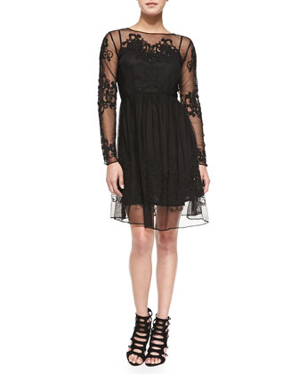 Maddison Floral-Embroidered Mesh Dress, Black