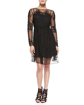 Maddison Floral-Embroidered Mesh Dress, Black