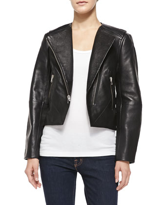 Northern Pebbled Leather Moto Jacket, Black