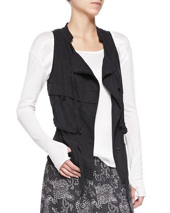 Silk Cargo Drawstring Vest & Silk Printed Long Skirt, Women's