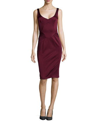 Sleeveless Sweetheart Satin Dress, Red Wine