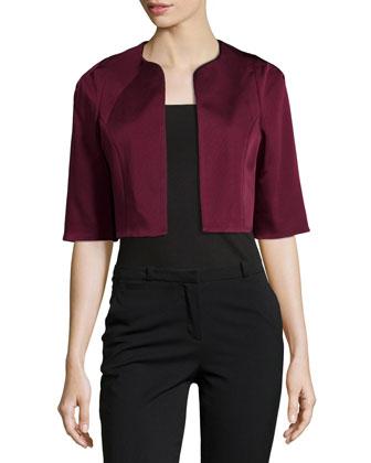 Cropped Half-Sleeve Jacket, Red Wine