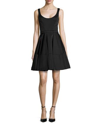 Sleeveless Full-Skirt Scoop-Back Dress, Midnight