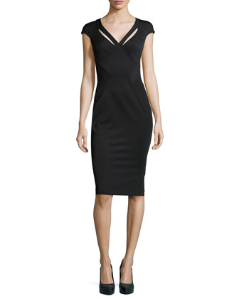 V-Neck Cutout Jersey Dress, Midnight