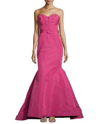 Strapless Fold-Detailed Mermaid Gown, Raspberry